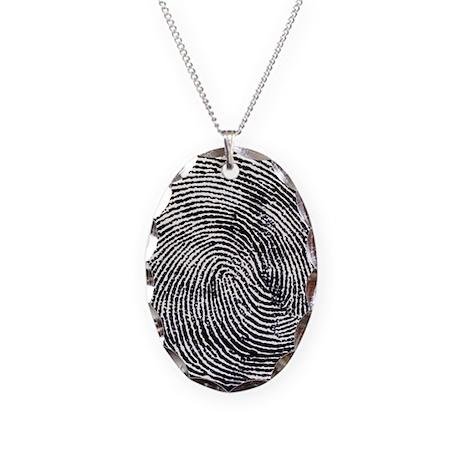 Enlarged fingerprint - Necklace Oval Charm