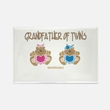 Grandfather Of Twins- Boy/Girl Rectangle Magnet