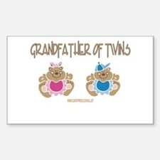 Grandfather Of Twins- Boy/Girl Sticker (Rectangula