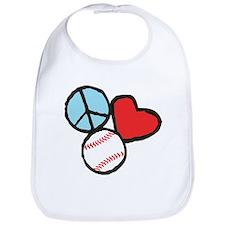 Peace, Love, Baseball Bib