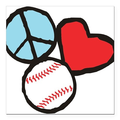 "Peace, Love, Baseball Square Car Magnet 3"" x 3"""