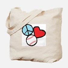 Peace, Love, Baseball Tote Bag