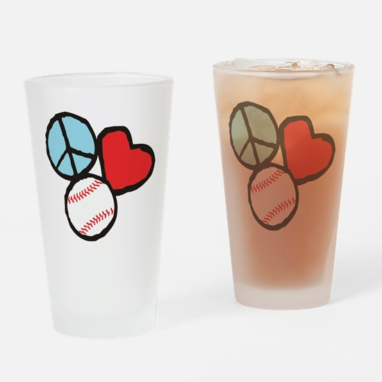 Peace, Love, Baseball Drinking Glass