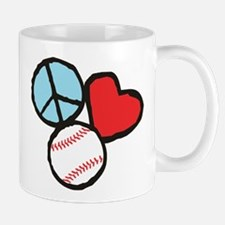 Peace, Love, Baseball Mug