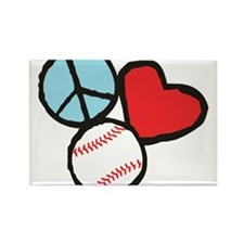 Peace, Love, Baseball Rectangle Magnet