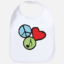 Peace, Love, Music Bib