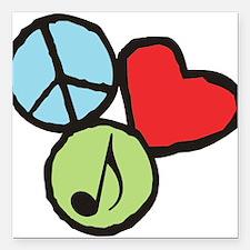 "Peace, Love, Music Square Car Magnet 3"" x 3"""