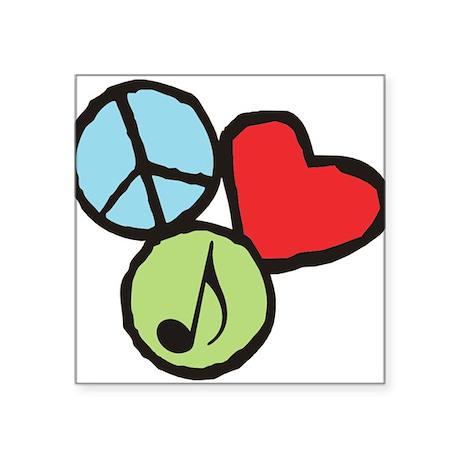 """Peace, Love, Music Square Sticker 3"""" x 3"""""""