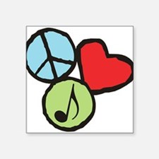 "Peace, Love, Music Square Sticker 3"" x 3"""