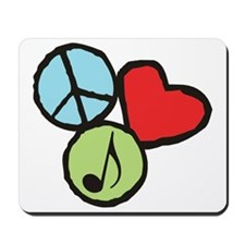 Peace, Love, Music Mousepad
