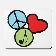 Peace, Love, Music Mousepad