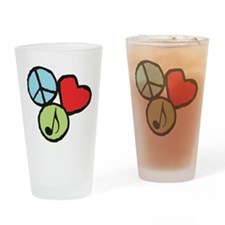 Peace, Love, Music Drinking Glass