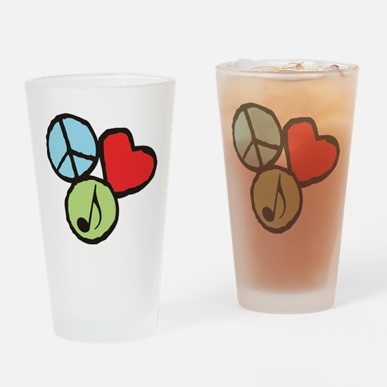 Peace, Love, Music Drinking Glass