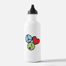Peace, Love, Music Sports Water Bottle