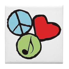 Peace, Love, Music Tile Coaster