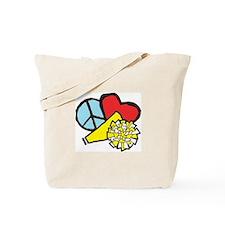 Peace, Love, Cheer Tote Bag