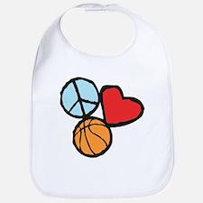 Peace, Love, Basketball Bib