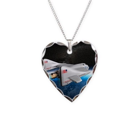 SpaceShipOne above Earth - Necklace Heart Charm