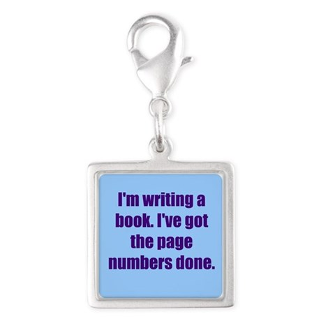 Writing a Book Silver Square Charm