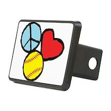 Peace, Love, Softball Hitch Cover