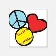 Peace, Love, Softball Sticker