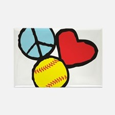 Peace, Love, Softball Rectangle Magnet