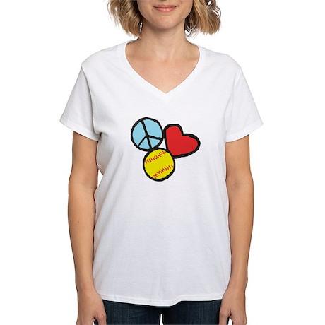 Peace, Love, Softball T-Shirt