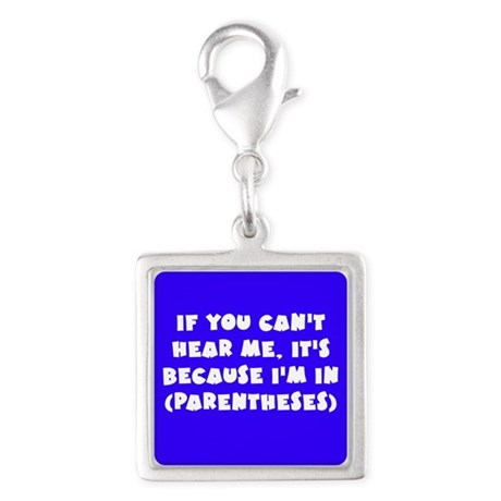 Parenthesis - Writing Silver Square Charm