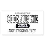 Code Junkie University Rectangle Sticker