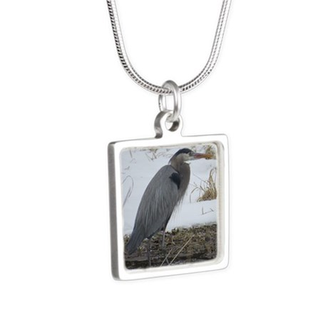 Great Blue Heron Silver Square Necklace