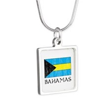 Bahamas Flag Silver Square Necklace