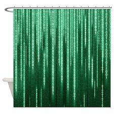 Green Binary Rain Shower Curtain
