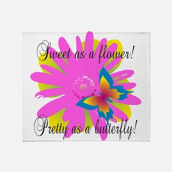 Sweet Pretty Butterfly Throw Blanket