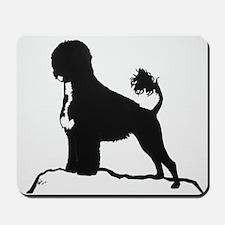 Portuguese Water Dog Sillhouette on rocks Mousepad
