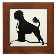 Portuguese Water Dog Sillhouette on rocks Framed T