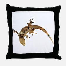 Wooden Gecko Throw Pillow