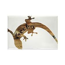 Wooden Gecko Rectangle Magnet
