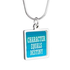 Character Equals Destiny Silver Square Necklace