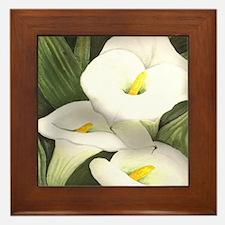 White Cala Lilies Ceramic Art Framed Tile