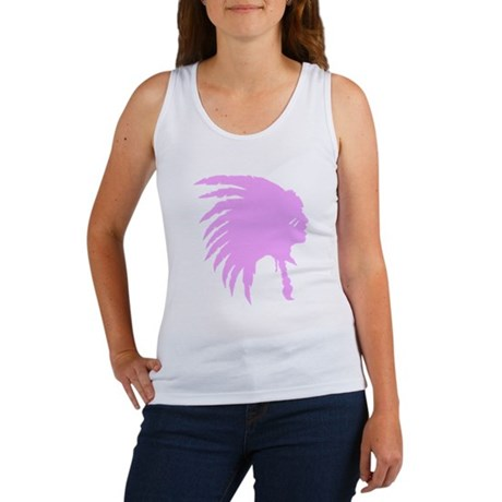 Pink Indian Headdress Outline Tank Top