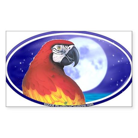 Parrot Moon Tropical Bumper Oval Sticker