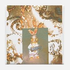 Gold Tones Hersheys Rabbit. Tile Coaster