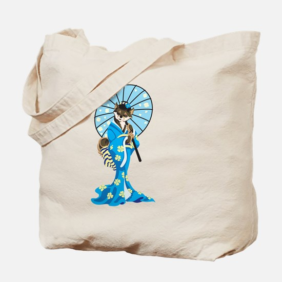 Shiba Geisha, Black and Tan, Tote Bag