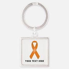Orange Awareness Ribbon Customized Square Keychain