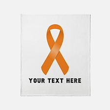 Orange Awareness Ribbon Customized Throw Blanket