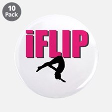 "I Flip Tumbling gymnast 3.5"" Button (10 pack)"