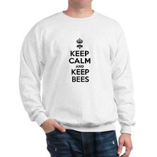 Keep Calm and Keep Bees White Sweatshirt