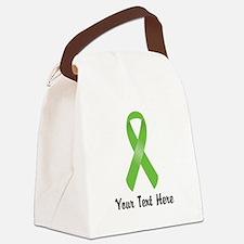 Green Awareness Ribbon Customized Canvas Lunch Bag