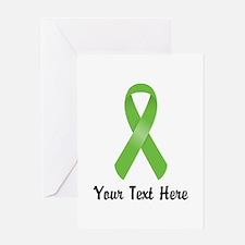 Green Awareness Ribbon Customized Greeting Card