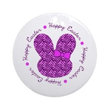 Zebra Easter Bunny Ornament (Round)